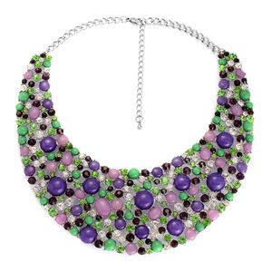 Purple Chroma, Austrian Crystal Silvertone Bib Necklace (18 in)