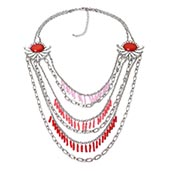 Red Glass, Austrian Crystal Silvertone Multi Strand Drape Necklace (22-24 in)