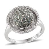 Narsipatnam Alexandrite, Diamond Platinum Over Sterling Silver Ring (Size 9.0) TDiaWt 0.01 cts, TGW 2.138 cts.