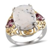 Dendritic Agate, Orissa Rhodolite Garnet 14K YG and Platinum Over Sterling Silver Ring (Size 10.0) TGW 13.450 cts.