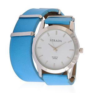 STRADA Japanese Movement Wrap Watch and Blue Band With Stainless Steel Back