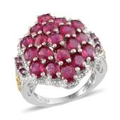 Niassa Ruby, Orissa Rhodolite Garnet 14K YG and Platinum Over Sterling Silver Graceful Cluster Ring (Size 8.0) TGW 8.45 cts.