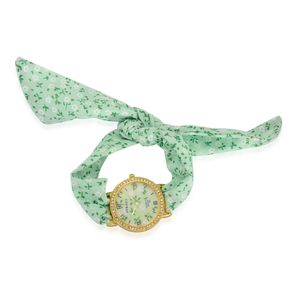 STRADA Austrian Crystal Japanese Movement Wrap Watch with Stainless Steel Back and Green Floral Band