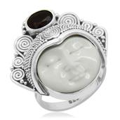 Bali Princess Collection Carved Bone, Niassa Ruby Sterling Silver Ring (Size 7.0) TGW 1.110 cts.