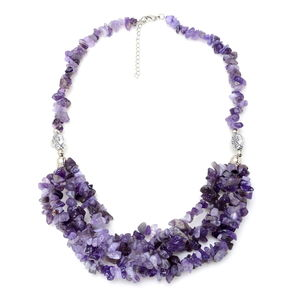 Amethyst Silvertone Drape Necklace (18-20 in) TGW 326.250 cts.