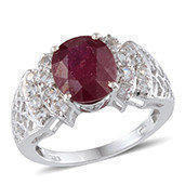 Niassa Ruby, White Topaz Platinum Over Sterling Silver Ring (Size 6.0) TGW 6.400 cts.