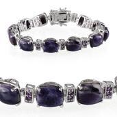 Sierra Madre Purple Opal, Amethyst Platinum Over Sterling Silver Bracelet (7.50 In) TGW 40.350 cts.