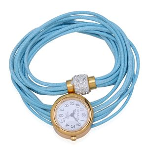 STRADA Austrian Crystal Japanese Movement Blue Wrap Watch with Stainless Steel Back
