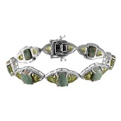 Utah Variscite, Hebei Peridot, Diamond 14K YG and Platinum Over Sterling Silver Bracelet (7.50 In) TDiaWt 0.14 cts, TGW 35.120 cts.