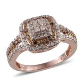 Diamond (Sqr), Champagne Diamond Ring in 14K RG Overlay Sterling Silver Nickel Free (Size 7.0) TDiaWt 0.50 cts, TGW 0.500 cts.