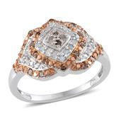 Champagne Diamond, Diamond 14K RG and Platinum Over Sterling Silver Ring (Size 10.0), TDiaWt 0.50 cts, TGW 0.500 cts.