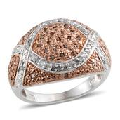 Champagne Diamond, Diamond 14K RG and Platinum Over Sterling Silver Ring (Size 7.0) TDiaWt 0.50 cts, TGW 0.50 cts.