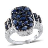 Kanchanaburi Blue Sapphire, Blue Diamond Platinum Over Sterling Silver Ring (Size 8.0) TDiaWt 0.04 cts, TGW 4.830 cts.