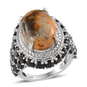 Bumble Bee Jasper, Thai Black Spinel, Diamond Accent Platinum Over Sterling Silver Ring (Size 10.0) , TGW 17.01 cts.