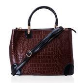 J Francis - Brown Crocodile Embossed Faux Leather Handbag (14x5x10 in)