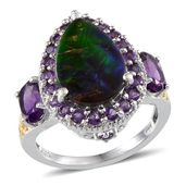 Canadian Ammolite (Pear 3.50 Ct), Amethyst Ring in 14K YG and Platinum Overlay Sterling Silver Nickel Free (Size 8.0) TGW 5.55 cts.