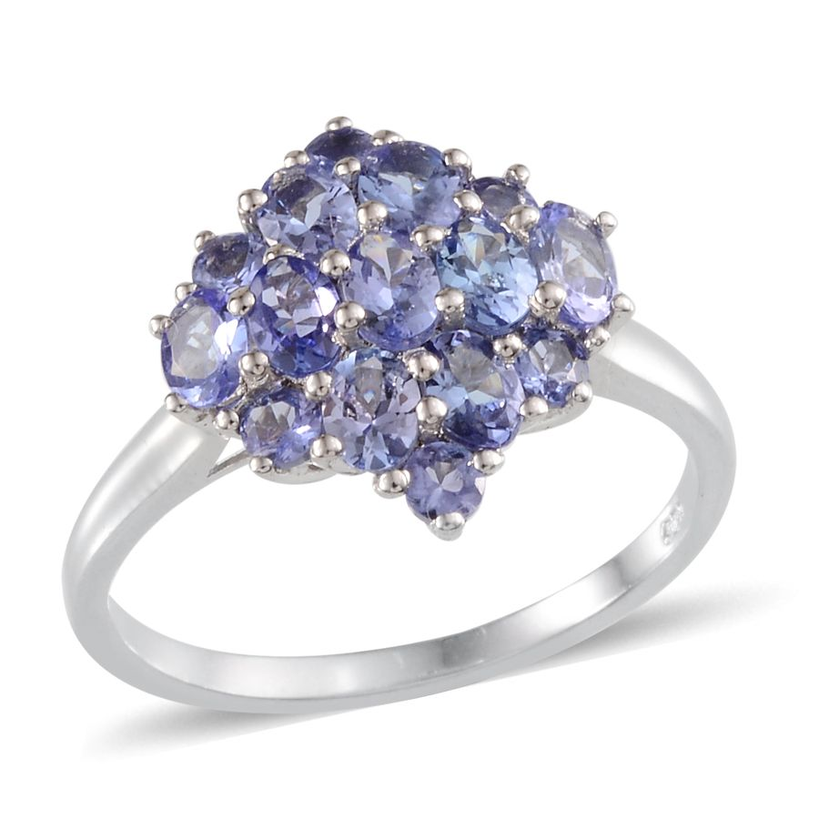 Tanzanite Platinum Over Sterling Silver Ring (Size 5.0) TGW 2.01 cts.