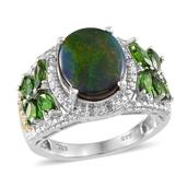 Canadian Ammolite, Russian Diopside, Diamond 14K YG and Platinum Over Sterling Silver Ring (Size 8.0) , TDiaWt 0.02 cts, TGW 4.564 cts.