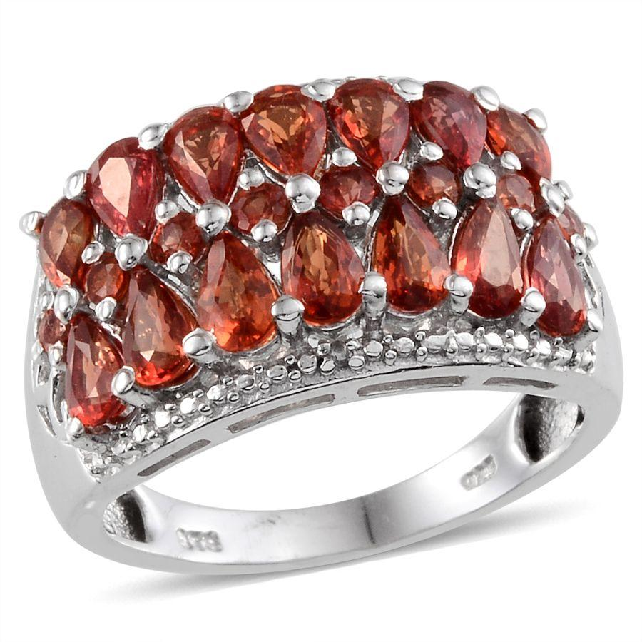 Orange Sapphire, Diamond Platinum Over Sterling Silver Ring (Size 9.0) TDiaWt 0.01 cts, TGW 3.910 cts.