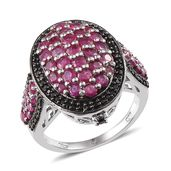 Ruby, Thai Black Spinel Platinum Over Sterling Silver Chic Cluster Ring (Size 7.0) TGW 3.77 cts.