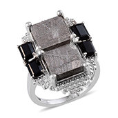 Marvelous Meteorites, Thai Black Spinel, Diamond Platinum Over Sterling Silver Ring (Size 10.0) TDiaWt 0.03 cts, TGW 22.730 cts.