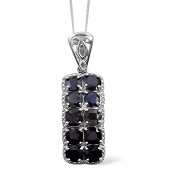 Kanchanaburi Blue Sapphire Sterling Silver Pendant With Chain (18 in) TGW 9.000 cts.