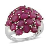 Niassa Ruby Platinum Over Sterling Silver Ring (Size 7.0) TGW 8.00 cts.