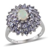 Australian White Opal (Ovl), Tanzanite Ring in Platinum Overlay Sterling Silver Nickel Free (Size 9) TGW 2.80 Cts.