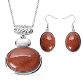 Red Goldstone, White Shell Earrings and Pendant With Chain (24 in) in Stainless Steel TGW 60.00 cts.