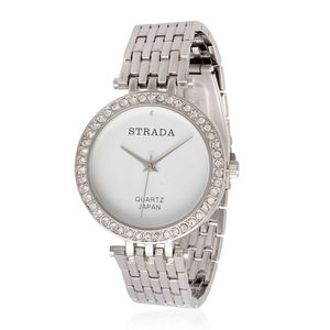 STRADA Austrian Crystal Japanese Movement Watch in Silvertone with Stainless Steel Back