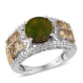 Canadian Ammolite, Brazilian Citrine, Diamond 14K YG and Platinum Over Sterling Silver Ring (Size 7.0) TGW 4.11 cts.