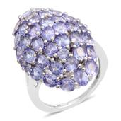 Tanzanite Platinum Over Sterling Silver Ring (Size 8.0) TGW 6.550 cts.