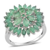 Kagem Zambian Emerald Platinum Over Sterling Silver Ring (Size 8.0) TGW 3.215 cts.