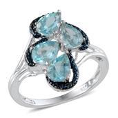 Madagascar Paraiba Apatite, Blue Diamond Platinum Over Sterling Silver Ring (Size 7.0) , TDiaWt 0.01 cts, TGW 2.850 cts.
