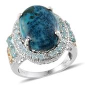Table Mountain Shadowkite, Madagascar Paraiba Apatite, Diamond 14K YG and Platinum Over Sterling Silver Ring (Size 7.0) TDiaWt 0.02 cts, TGW 15.004 cts.