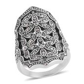 Hematite Stainless Steel Openwork Elongated Ring (Size 6.0)