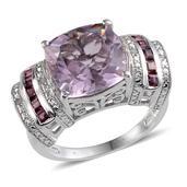 Rose De France Amethyst, Orissa Rhodolite Garnet, Diamond Platinum Over Sterling Silver Ring (Size 7.0) TDiaWt 0.03 cts, TGW 6.780 cts.