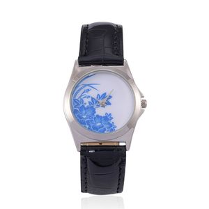 STRADA Japanese Movement Watch with Black Band and Stainless Steel Back