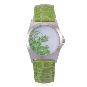 STRADA Japanese Movement Lime Green Floral Face Watch with Green Band and Stainless Steel Back