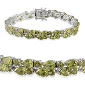 Hebei Peridot Platinum Over Sterling Silver Bracelet (7.50 In) TGW 21.600 cts.