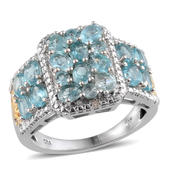 Madagascar Paraiba Apatite, Diamond 14K YG and Platinum Over Sterling Silver Ring (Size 7.0) TDiaWt 0.01 cts, TGW 3.490 cts.