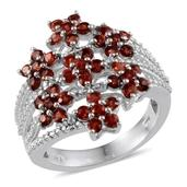 Orange Sapphire, Diamond Platinum Over Sterling Silver Floral Ring (Size 8.0) TDiaWt 0.01 cts, TGW 2.510 cts.