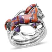 Santa Fe Style Mojave Purple Turquoise, Spiny Oyster Red and Orange Shell Ring in Sterling Silver (Size 8.5) TGW 2.002 cts.