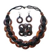 Black Seed Bead, Wooden Silvertone Bracelet (Stretchable), Earrings and Necklace (20.00 In)
