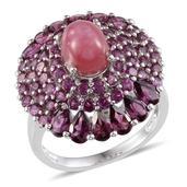 Kenyan Ruby, Orissa Rhodolite Garnet Platinum Over Sterling Silver Ring (Size 7.0) ts. TGW 10.050 cts.