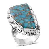 Santa Fe Style Mojave Blue Turquoise Sterling Silver Elongated Ring (Size 7.0) TGW 8.60 cts.