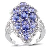 Tanzanite, Diamond Platinum Over Sterling Silver Ring (Size 8.0) TDiaWt 0.03 cts, TGW 5.670 cts.