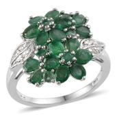 Kagem Zambian Emerald, Diamond Platinum Over Sterling Silver Ring (Size 9.0) TDiaWt 0.02 cts, TGW 3.140 cts.