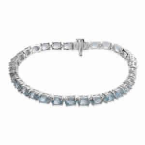 Cambodian Blue Zircon Sterling Silver Bracelet (7.50 In) TGW 16.800 cts.