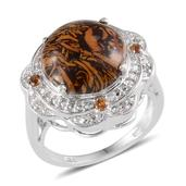 Indian Script Stone, Brazilian Citrine, Diamond Platinum Over Sterling Silver Ring (Size 7.0) TDiaWt 0.02 cts, TGW 7.420 cts.